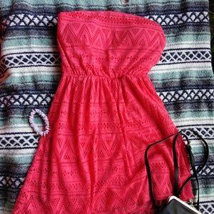 No Boundaries Strapless Dress, Pink, Ladies Medium
